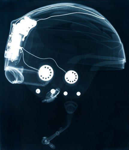 x-ray helmet with audio cables inside radiograph
