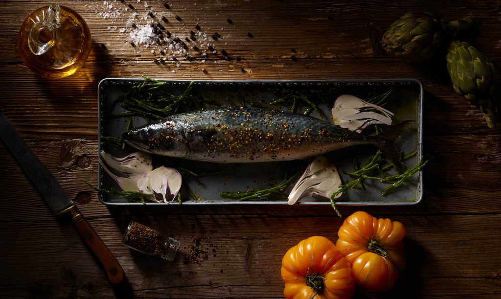 Images of macarel with artichoke paprika pepper salt garlic old knife packaging for paperlove