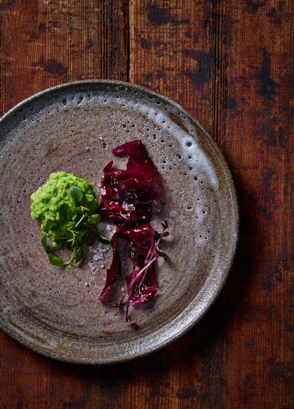 algal salad with pea creme old wood underground Japanese Food style