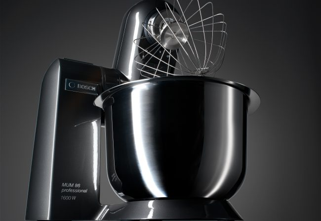 product photography shot from bosch kitchen device as still life in front of dark grey gradient