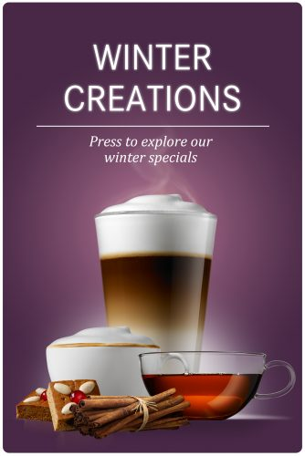 group of latte macciato tea cappuccino cinnamon gingerbread purple backdrop Coffee Machines D