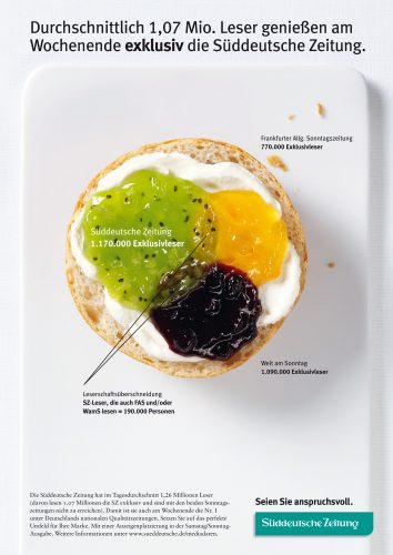 Advertising food pictures of roll with three different marmelades overlapping as diagramm