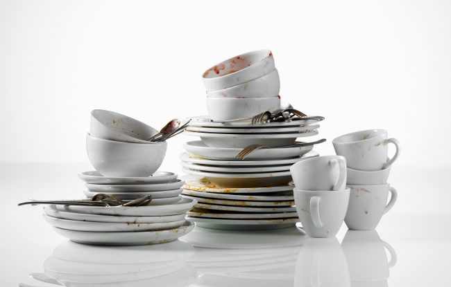 Food Allegories, severel piles of dirty dishes white backdrop Food Allegorys
