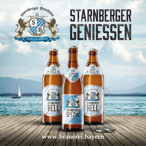 starnberger beer three bottles stand on a wooden bridge the lake in the background