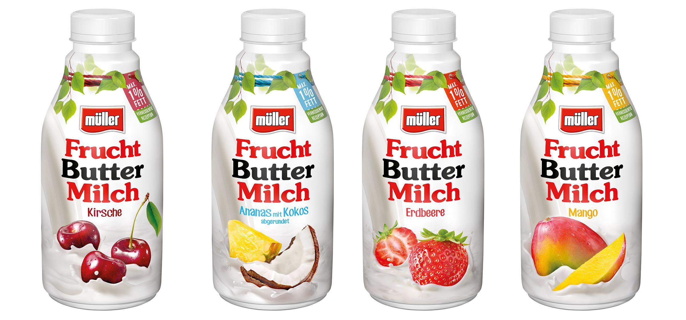 Packungsaufnahmen, 4 Verpackungen von Müller Milch Fruchtbuttermilch als Freisteller vor weißem Hintergrund