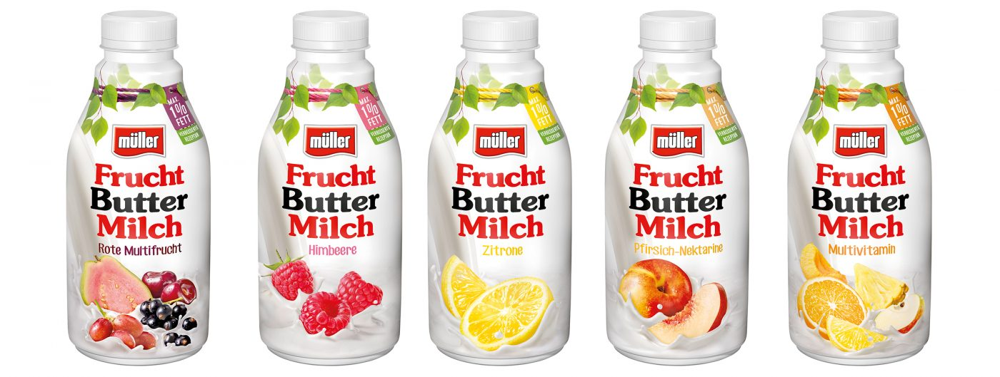 pack shots, 5 packages of Müller milk fruit butter milk as a cut out in front of white background