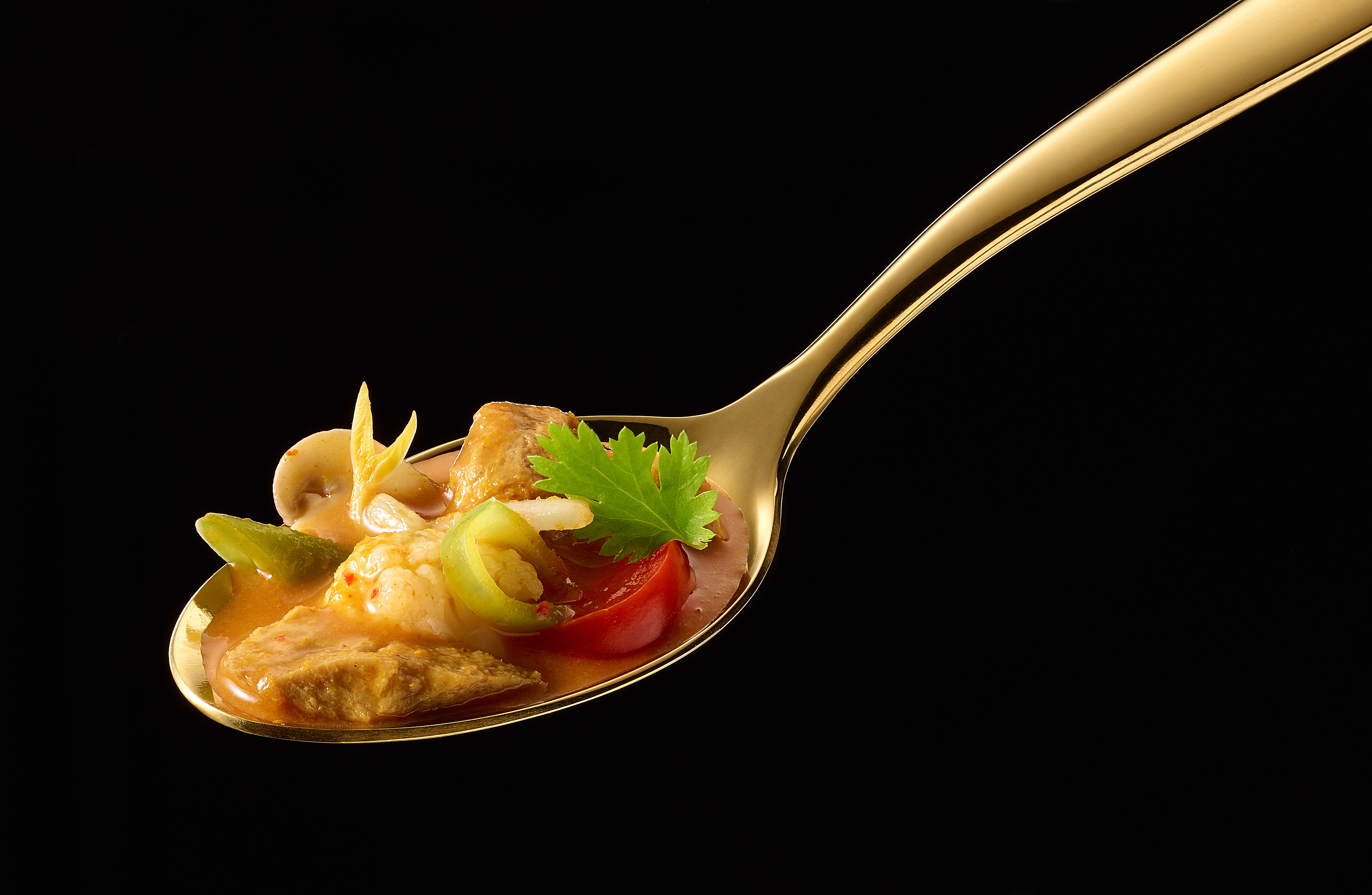 Vegan Thai Soup on a golden spoon
