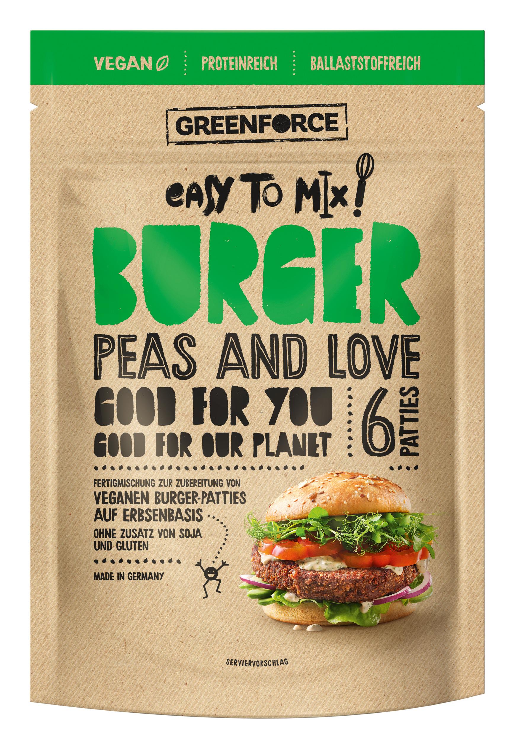 Burger Packshots für greenforce. Hier ist ein Hamburger mit veganem Patty zu sehen.